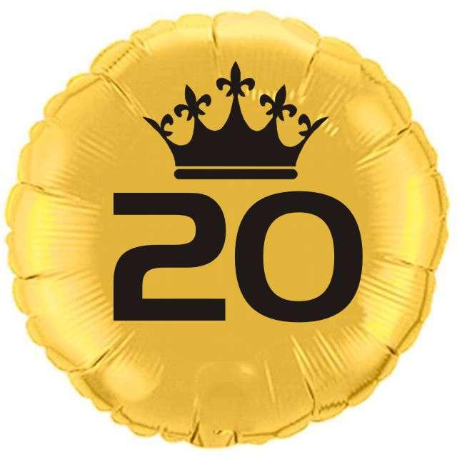 """Balon foliowy """"Urodziny 20"""", złoty, 18"""" RND"""