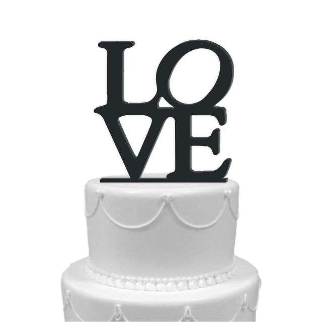 """Dekoracja na tort """"LOVE"""", czarna, 11 cm"""