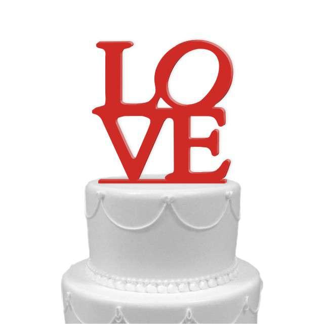 """Dekoracja na tort """"LOVE"""", czerwona, 11 cm"""
