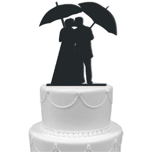 """Dekoracja na tort """"Para Młoda 9"""", czarna, 14 cm"""