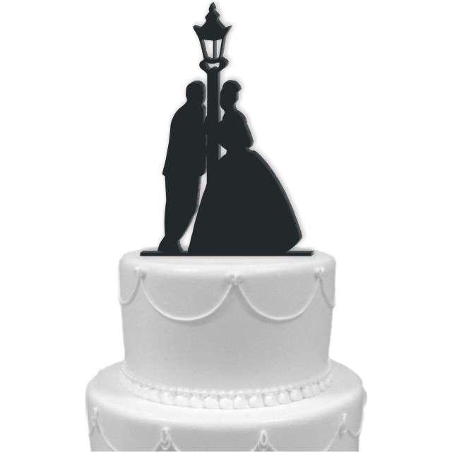 """Dekoracja na tort """"Para Młoda i latarnia"""", czarna, 15 cm"""