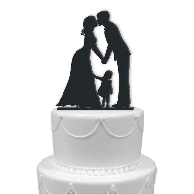 """Dekoracja na tort """"Para Młoda z córką"""", czarna, 13 cm"""