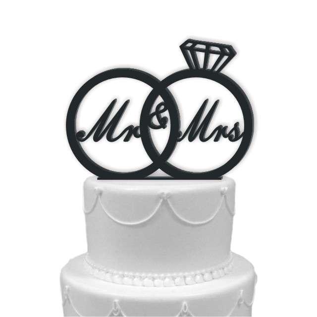 """Dekoracja na tort """"Mr & Mrs w obrączkach"""", czarna, 15 cm"""