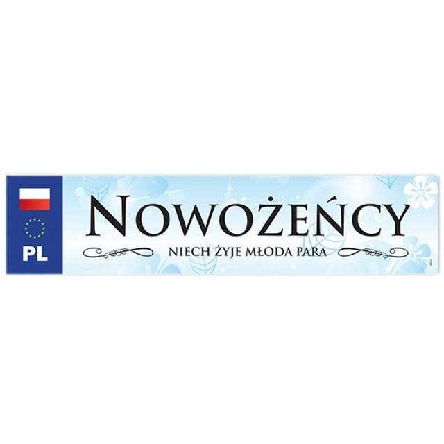 """Tablica rejestracyjna """"Nowożeńcy"""", błękitna"""
