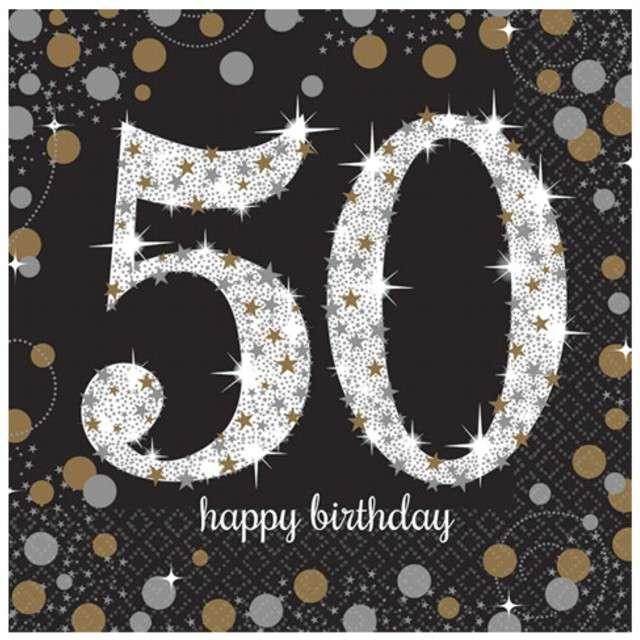 """Serwetki """"50 Urodziny - Sparkling Celebrations Gold"""", AMSCAN, 33 cm, 16 szt"""