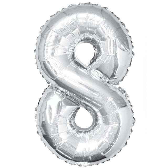 """Balon foliowy cyfra 8, 34"""", UNIQUE, srebrny"""