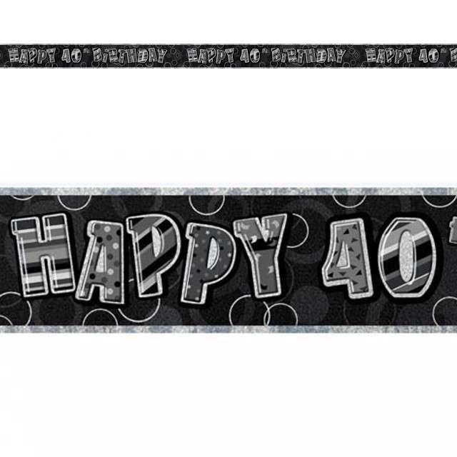 """Baner taśma """"Urodziny 40"""", czarny glitz, UNIQUE, 274 cm"""