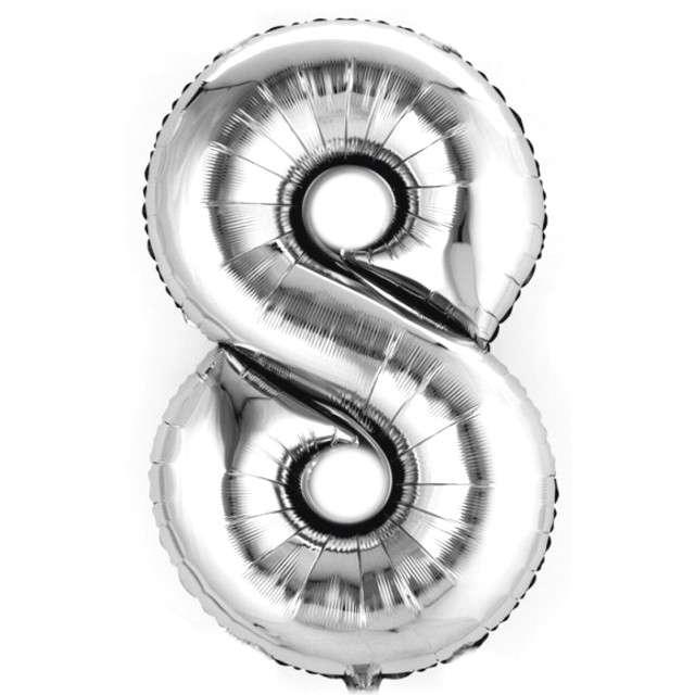 """Balon foliowy cyfra 8, 14"""", AMSCAN, srebrny"""