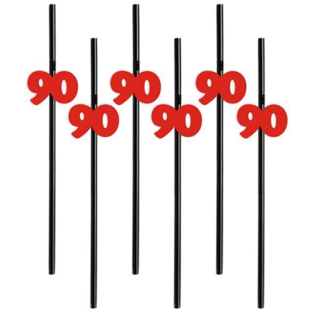 """Słomki """"90"""", 21 cm, czerwone, 6 szt"""
