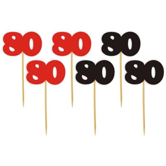 """Pikery """"80 Urodziny Classic"""", czerwono-czarne, 6 szt"""