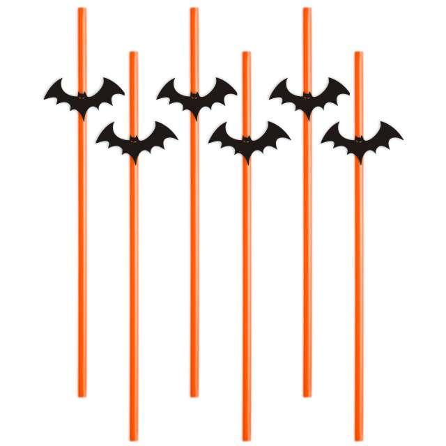 """Słomki """"Halloween Nietoperz"""", 24 cm, 6 szt"""