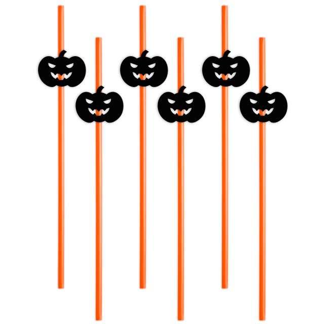 """Słomki """"Halloween Dynie"""", 24 cm, 6 szt"""