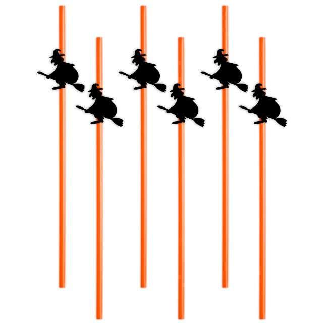 """Słomki """"Halloween Czarownice"""", 24 cm, 6 szt"""