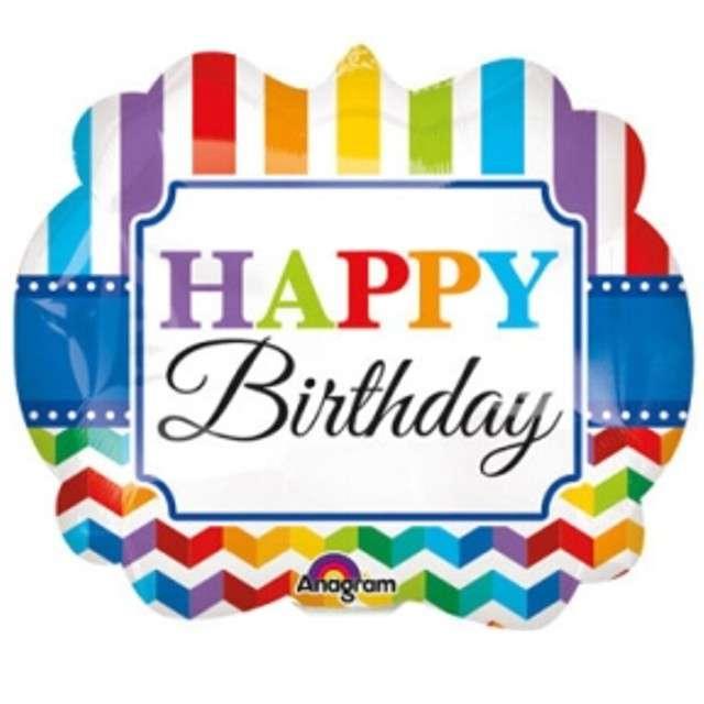 "Balon foliowy ""Happy Birthday tęczowy shevron"", AMSCAN, 14"" SHP"
