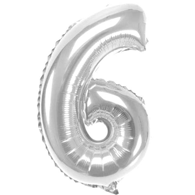 "Balon foliowy cyfra 6, 16"", OEM, srebrny"