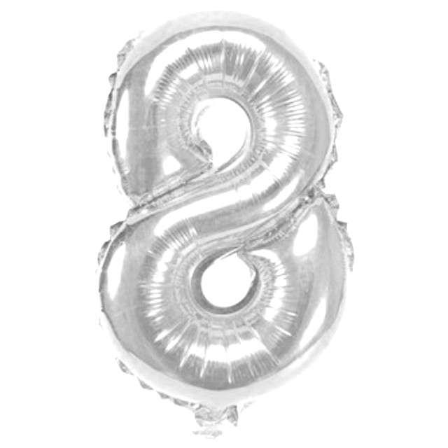 "Balon foliowy cyfra 8, 16"", OEM, srebrny"