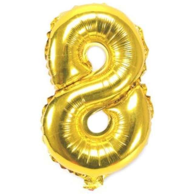 """Balon foliowy cyfra 8, 16"""", OEM, złoty"""