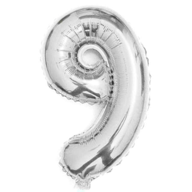 "Balon foliowy cyfra 9, 16"", OEM, srebrny"