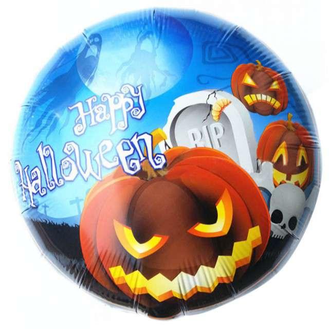"""Balon foliowy """"Happy Halloween dynia cmentarz"""", OEM, 18"""" RND"""