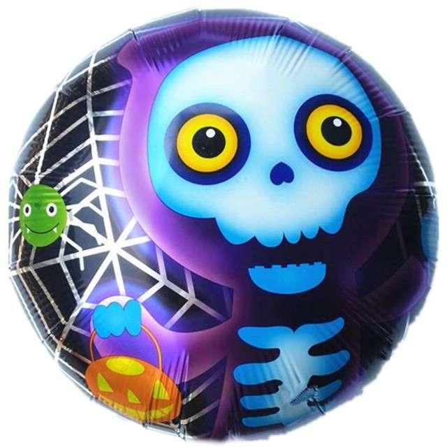 """Balon foliowy """"Happy Halloween fioletowy szkielet"""", OEM, 18"""" RND"""