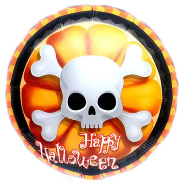 """Balon foliowy """"Happy Halloween Czaszka i Kości"""", OEM, 18"""" RND"""