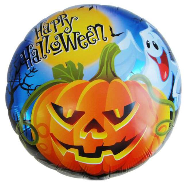 "Balon foliowy ""Happy Halloween Dynia i Duch"", OEM, 18"" RND"