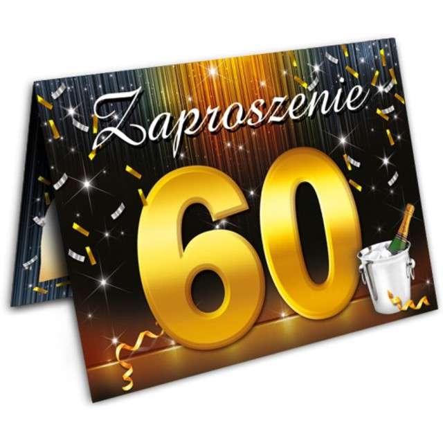 """Zaproszenia z kopertą """"Urodziny 60 szampan"""", 10 szt"""