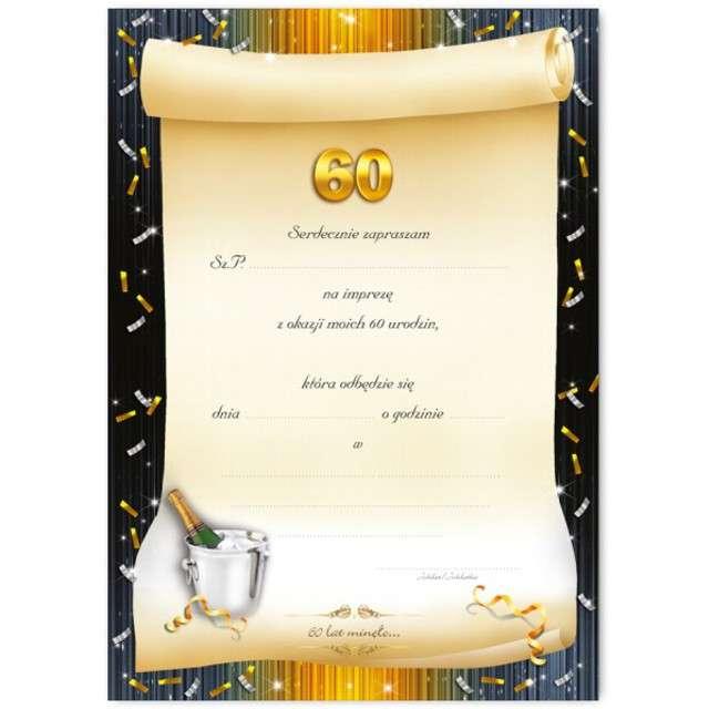 Zaproszenia z kopertą Urodziny 60 szampan 10 szt