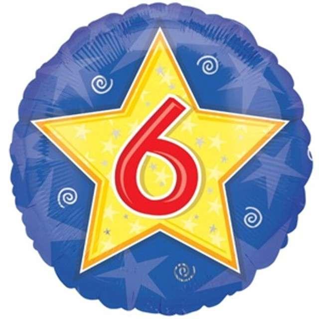 """Balon foliowy """"Urodziny 6"""", niebieski z gwiazdą, AMSCAN, 18"""" RND"""
