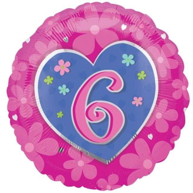 """Balon foliowy """"Urodziny 6"""", różowy z sercem, AMSCAN, 18"""" RND"""