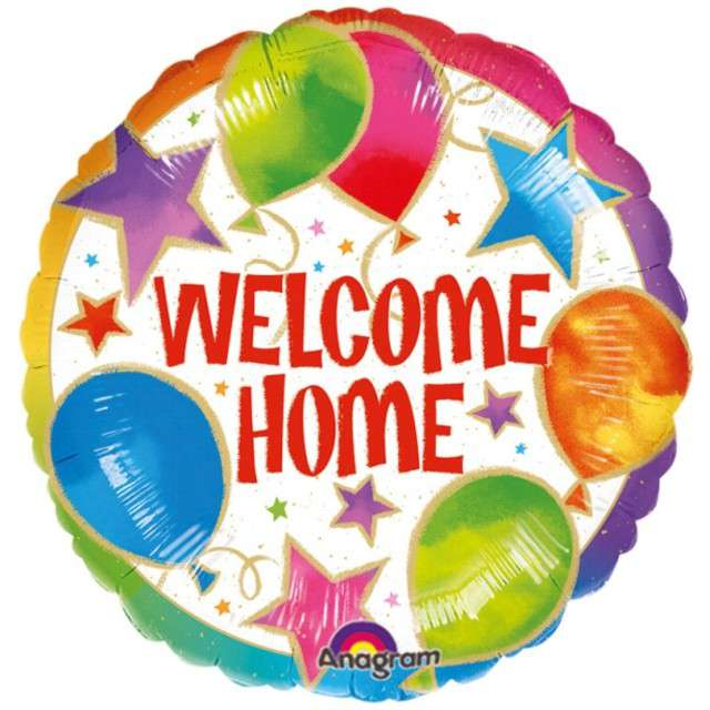 "Balon foliowy ""Welcome Home"", AMSCAN, 18"" RND"