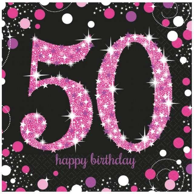 """Serwetki """"50 Urodziny - Sparkling Celebrations Pink"""", AMSCAN, 33 cm, 16 szt"""