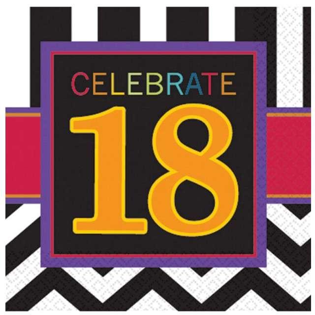 """Serwetki """"18 urodziny Chevron Birthday"""", 33 cm, 16 szt"""