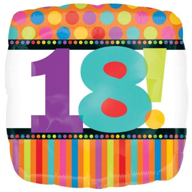"""Balon foliowy """"Urodziny 18"""", AMSCAN, 18"""" SQR"""