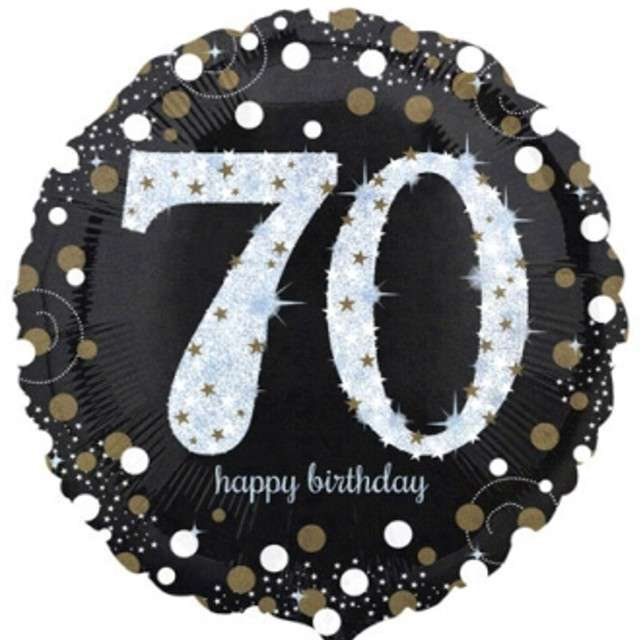 "Balon foliowy ""Urodziny 70"", Sparkling Celebrations Gold, AMSCAN, 18"" CIR"