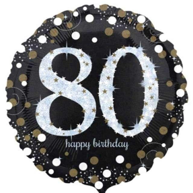 "Balon foliowy ""Urodziny 80"", Sparkling Celebrations Gold, AMSCAN, 18"" CIR"