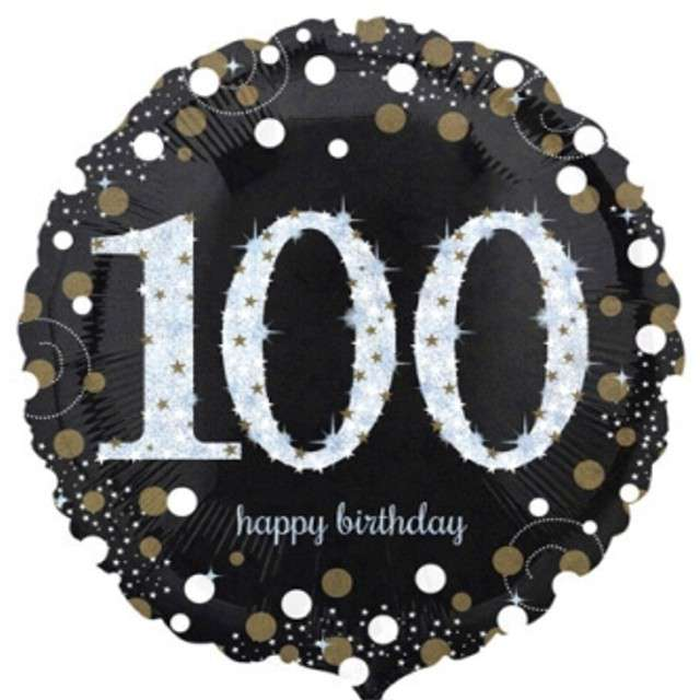 "Balon foliowy ""Urodziny 100"", Sparkling Celebrations Gold, AMSCAN, 18"" CIR"