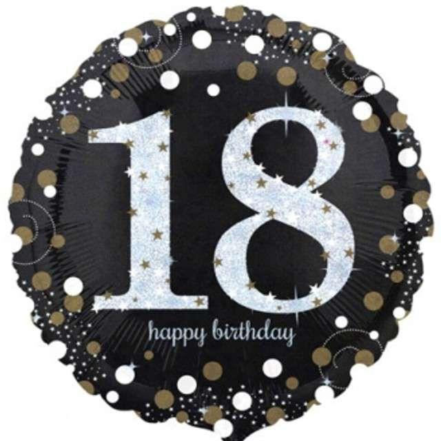 "Balon foliowy ""Urodziny 18"", Sparkling Celebrations Gold, AMSCAN, 18"" CIR"
