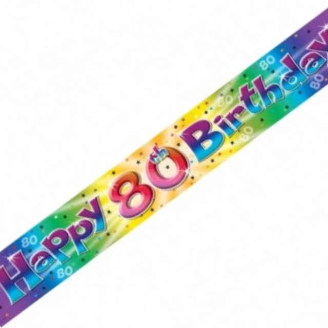 """Baner taśma """"Urodziny 80"""", tęczowy, AMSCAN, 3.65 m"""
