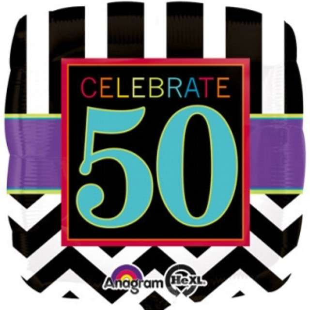 """Balon foliowy """"Urodziny 50"""", Chevron, AMSCAN, 18"""" SQR"""