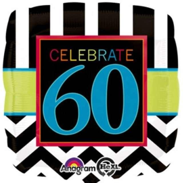 """Balon foliowy """"Urodziny 60"""", Chevron, AMSCAN, 18"""" SQR"""