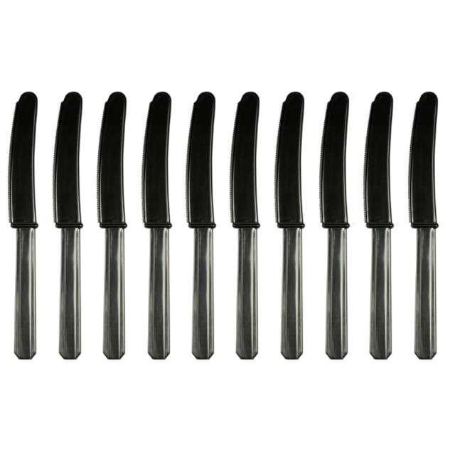 Noże plastikowe, czarne, AMSCAN, 17 cm, 10 szt