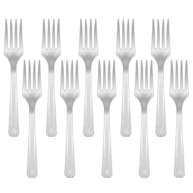 "Widelce plastikowe ""Amscan"", srebrne, 16 cm, 10 szt"
