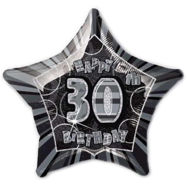 """Balon foliowy """"Urodziny 30"""", czarny, UNIQUE, 20"""" STR"""
