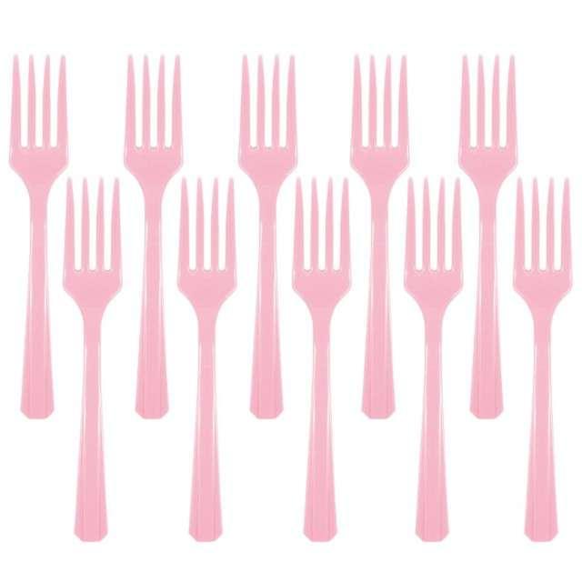 """Widelce plastikowe """"Amscan"""", różowe jasne, 16 cm, 10 szt"""