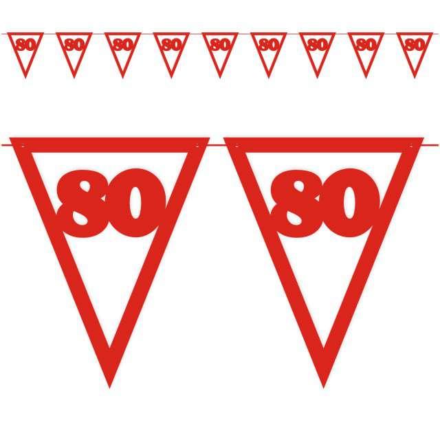 """Baner flagi """"Urodziny 80"""", czerwony, 3,6 m"""