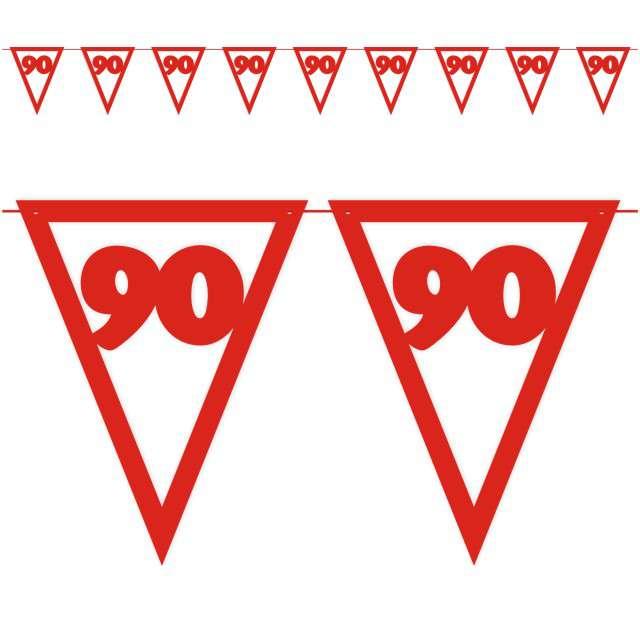 """Baner flagi """"Urodziny 90"""", czerwony, 3,6 m"""