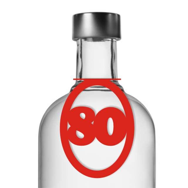 """Zawieszki na alkohol, """"Urodziny 80"""", czerwone, 10 szt"""