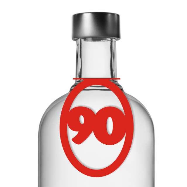 """Zawieszki na alkohol, """"Urodziny 90"""", czerwone, 10 szt"""