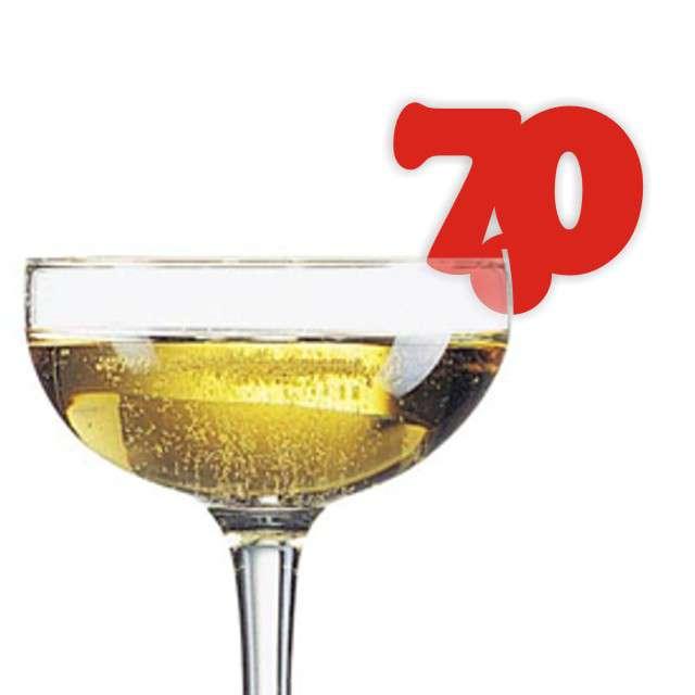 """Dekoracja na kieliszki """"Urodziny 70"""", czerwona, 10 szt"""
